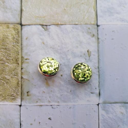 Серьги-гвоздики серебристые с блёстками